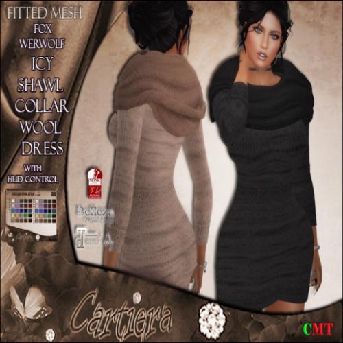 Icy Shawl Collar Dress